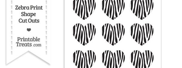 Small Skinny Zebra Print Heart Cut Outs