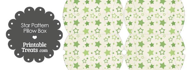 Small Vintage Green Star Pattern Pillow Box