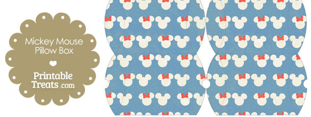 Small Vintage Minnie and Mickey Snow Theme Pillow Box