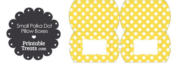 Small Yellow and White Polka Dot Pillow Box