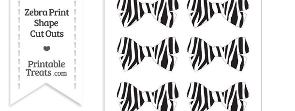 Small Zebra Print Bow Cut Outs