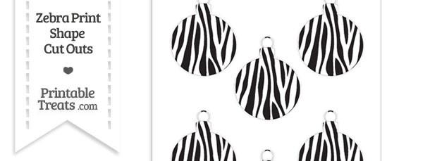 Small Zebra Print Christmas Ornament Cut Outs