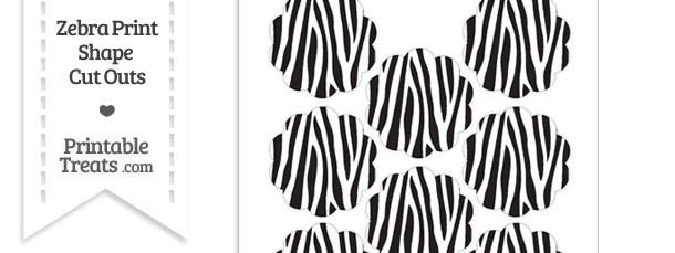 Small Zebra Print Flower Circle Cut Outs
