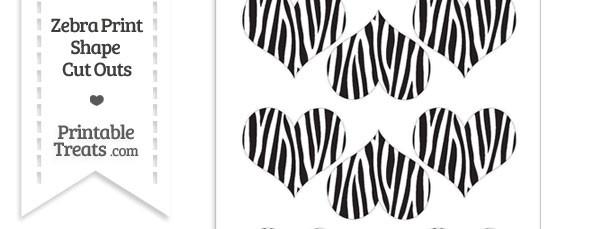 Small Zebra Print Heart Cut Outs