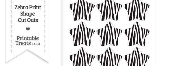 Small Zebra Print Star Cut Outs
