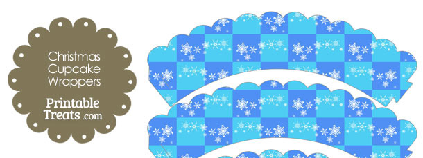 Snowflake Checkered Scalloped Cupcake Wrappers