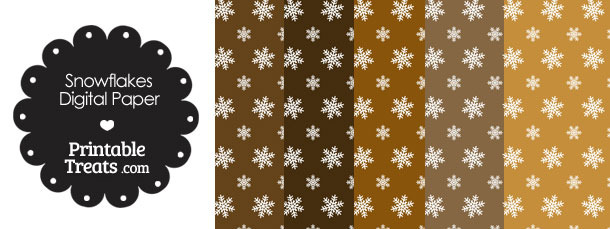 Snowflake Scrapbook Paper with Brown Background