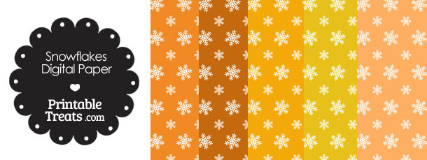 Snowflake Scrapbook Paper with Orange Background