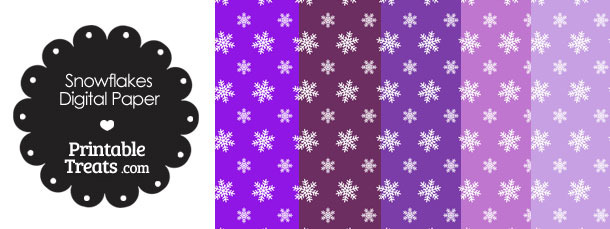 Snowflake Scrapbook Paper with Purple Background