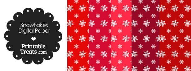 Snowflake Scrapbook Paper with Red Background