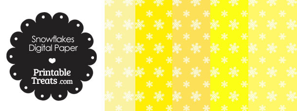 Snowflake Scrapbook Paper with Yellow Background