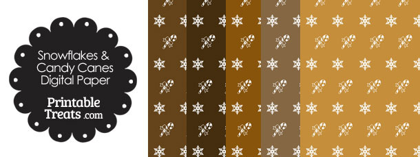 Snowflakes and Candy Canes Scrapbook Paper in Brown