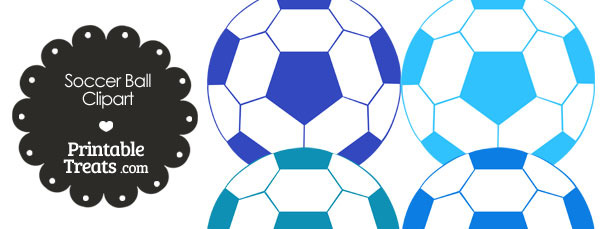 Soccer Ball Clipart in Shades of Blue