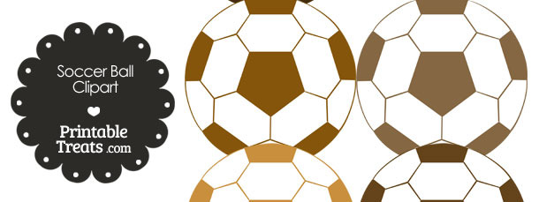 Soccer Ball Clipart in Shades of Brown