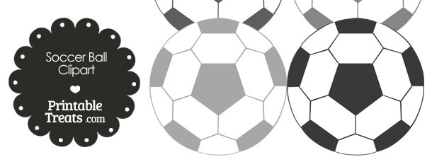 Soccer Ball Clipart in Shades of Grey