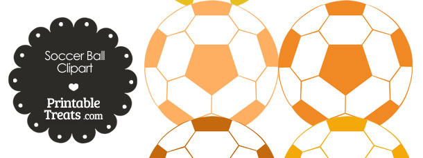 Soccer Ball Clipart in Shades of Orange