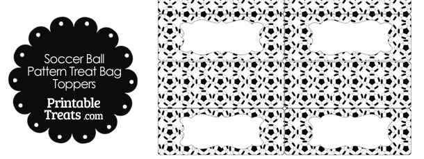 Soccer Ball Pattern Treat Bag Toppers