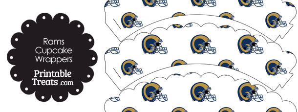 St Louis Rams Football Helmet Scalloped Cupcake Wrappers