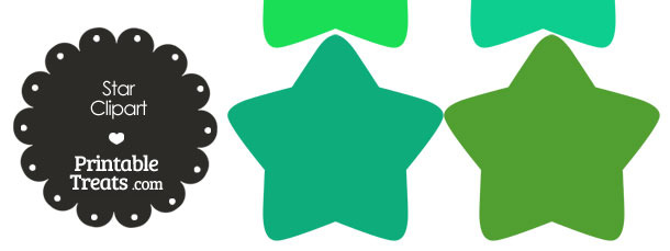 Star Clipart in Shades of Green from PrintableTreats.com