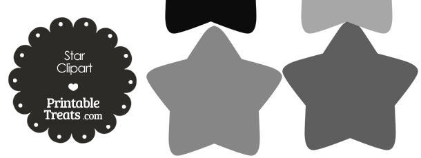 Star Clipart in Shades of Grey from PrintableTreats.com