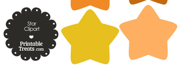 Star Clipart in Shades of Orange from PrintableTreats.com