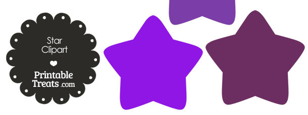 Star Clipart in Shades of Purple from PrintableTreats.com