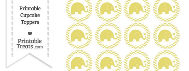 Straw Yellow Baby Elephant Chevron Cupcake Toppers