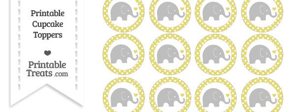 Straw Yellow Polka Dot Baby Elephant Cupcake Toppers