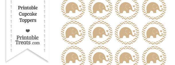 Tan Baby Elephant Chevron Cupcake Toppers