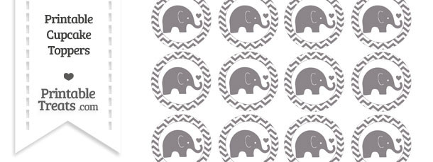 Taupe Grey Baby Elephant Chevron Cupcake Toppers