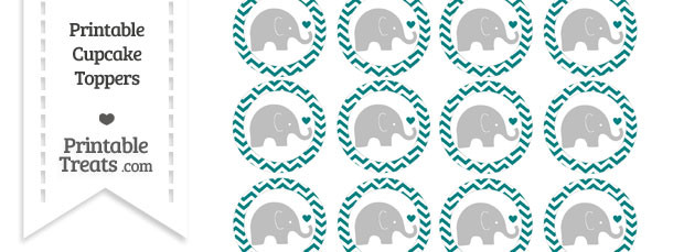 Teal Chevron Baby Elephant Cupcake Toppers