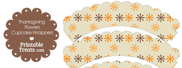 Thanksgiving Flowers Scalloped Cupcake Wrappers