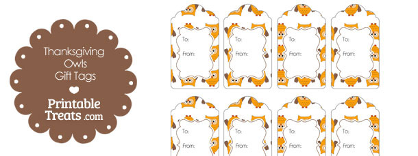 Thanksgiving Owls Gift Tags