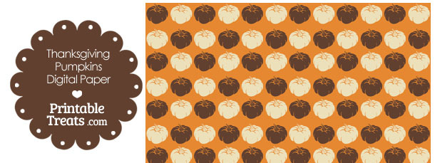 Thanksgiving Pumpkins Digital Scrapbook Paper