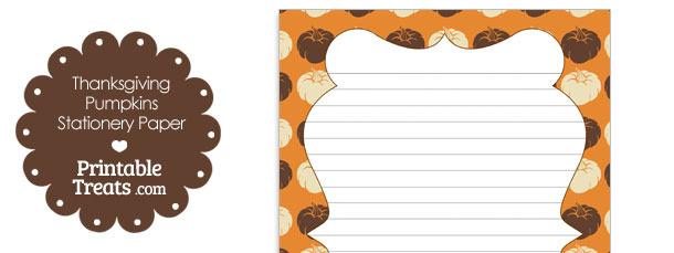 Thanksgiving Pumpkins Stationery Paper