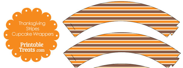 Thanksgiving Stripes Cupcake Wrappers