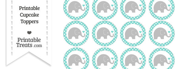 Tiffany Blue Polka Dot Baby Elephant Cupcake Toppers