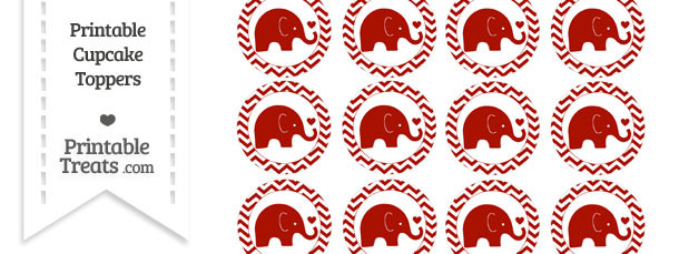 Turkey Red Baby Elephant Chevron Cupcake Toppers