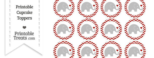 Turkey Red Chevron Baby Elephant Cupcake Toppers