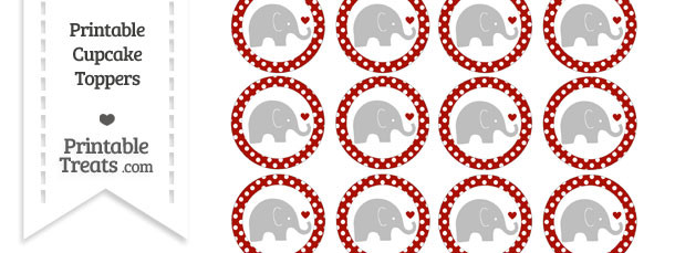 Turkey Red Polka Dot Baby Elephant Cupcake Toppers