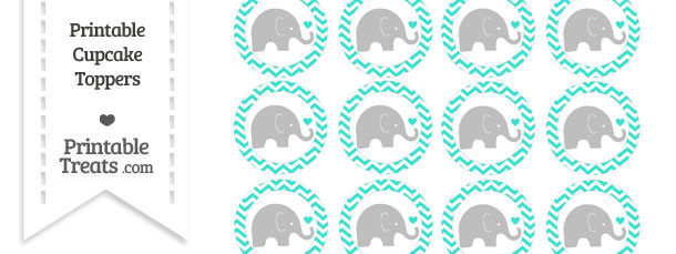 Turquoise Chevron Baby Elephant Cupcake Toppers