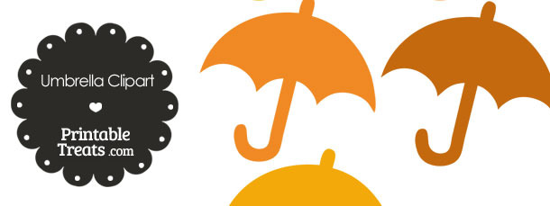 Umbrella Clipart in Shades of Orange from PrintableTreats.com