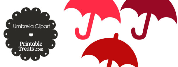 Umbrella Clipart in Shades of Red from PrintableTreats.com