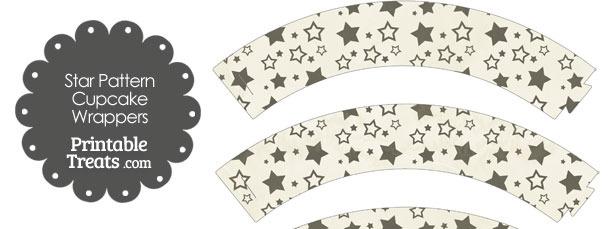Vintage Black Star Pattern Cupcake Wrappers