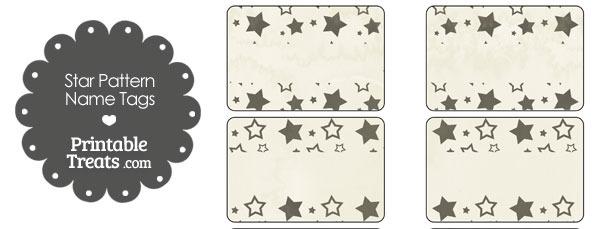 Vintage Black Star Pattern Name Tags