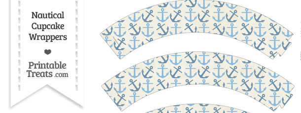 Vintage Blue Anchors Cupcake Wrappers