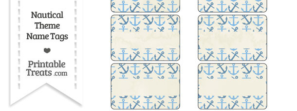 Vintage Blue Anchors Name Tags