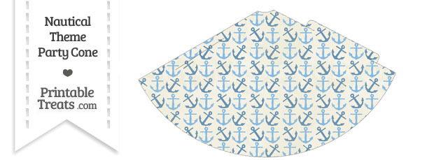 Vintage Blue Anchors Party Cone