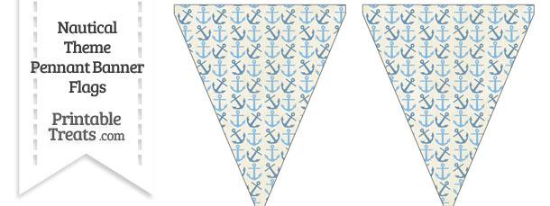 Vintage Blue Anchors Pennant Banner Flag