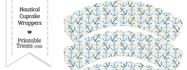 Vintage Blue Anchors Scalloped Cupcake Wrappers